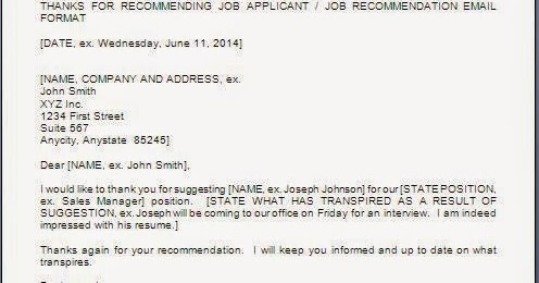 Thank You Letter For Employment Reference