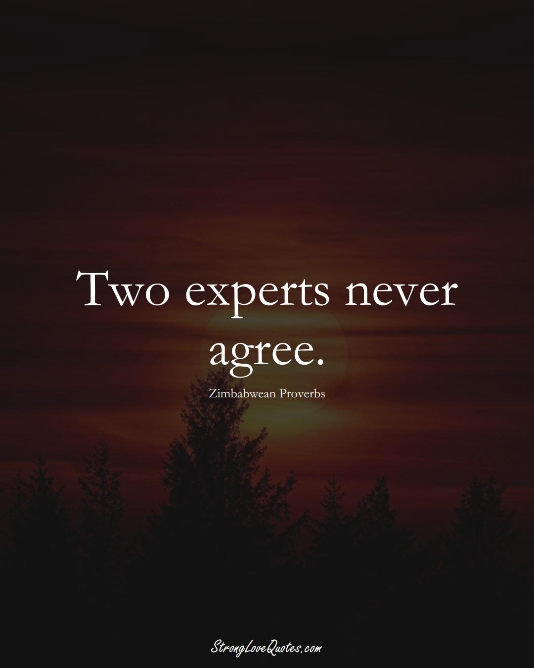 Two experts never agree. (Zimbabwean Sayings);  #AfricanSayings