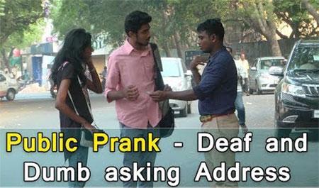 Public Prank – Deaf and Dumb asking address   Tamil Prank Video