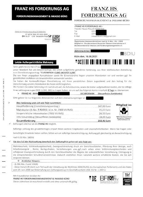 Scan: Zahlungsaufforderung Franz HS Forderungs AG / Aug 2021