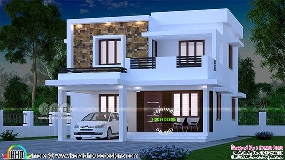 1700 Square Feet Flat Roof 3 Bhk Home Plan Kerala Home