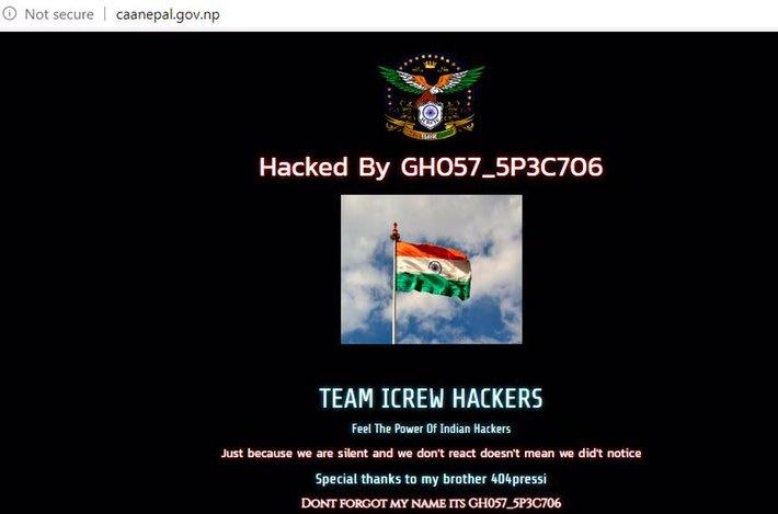 A screenshot of caanepal.gov.np website hacked on May 24, 2020