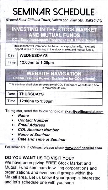 COL Seminar Schedule in Makati