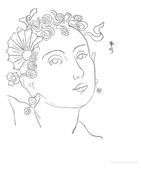 art, arte, woman, flowers, ribbons, kunst, drawing, minimal, sketch, dessin, dibujo, minimalist, minimalism, contemporary, line, line-drawing, fashion, simple, sarah, myers, ringlets, curls, streamers, earrings, face, head, eyes, contemporary