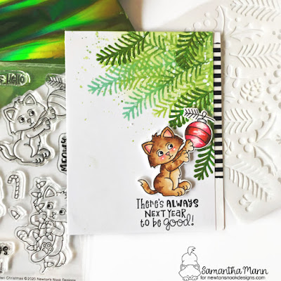 There's Always Next Year Card by Samantha Mann for Newton's Nook Designs, Christmas, Cards, handmade Cards, Kitten, Tree, Deco Foil #newtonsnook #christmas #cards #decofoil