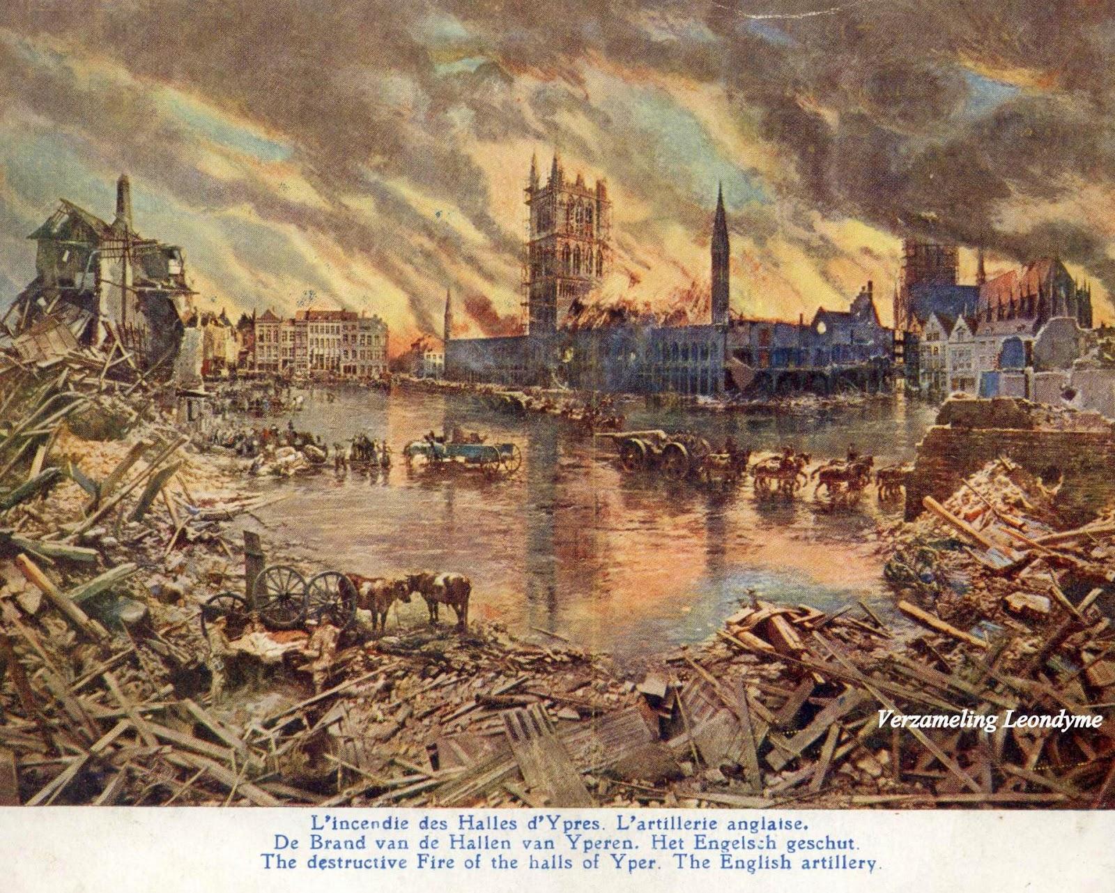 Slag aan de  IJzer door Alfred Bastien.  De brand van de Ieperse Hallen en Engelse troepen. Verzameling Leondyme