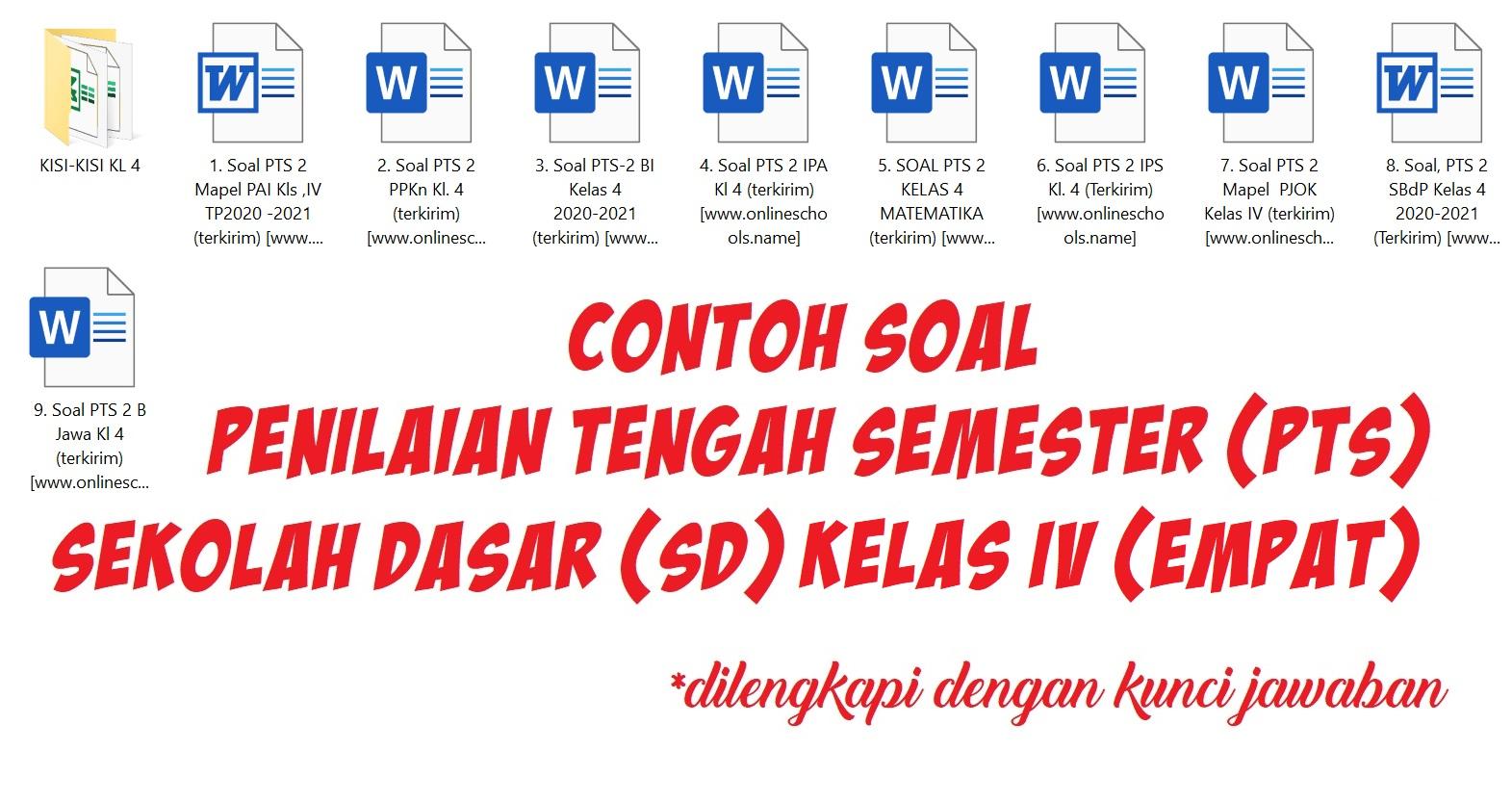 Contoh Soal Penilaian Tengah Semester (PTS) Sekolah Dasar (SD) Kelas IV (Empat)
