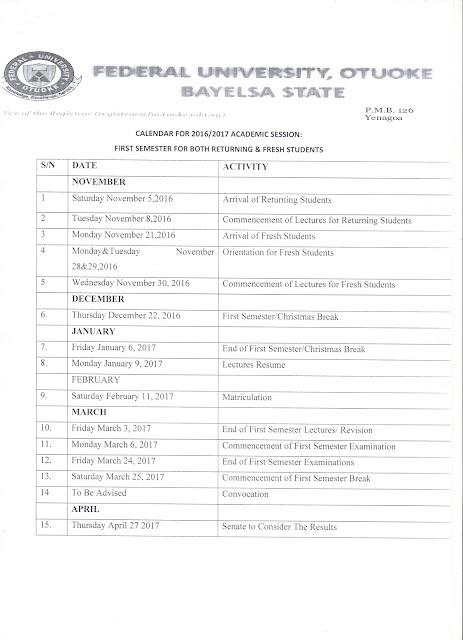 Federal University Otuoke Academic Calendar for 2016/2017 Academic Session