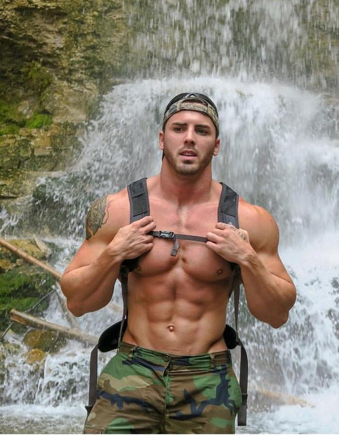 muscle-pecs-shirtless-daddy-hunk-military-pants-arm-tattoo-baseball-cap-waterfall