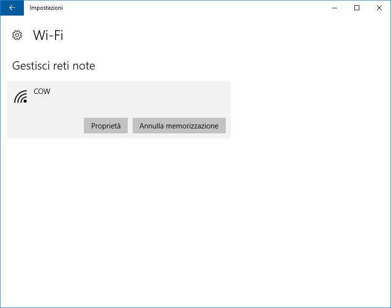 Windows 10: Gestisci reti note