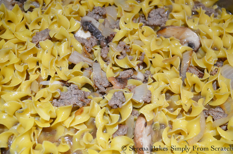 Hamburger Beef Stroganoff Helper is super easy to make from scratch.