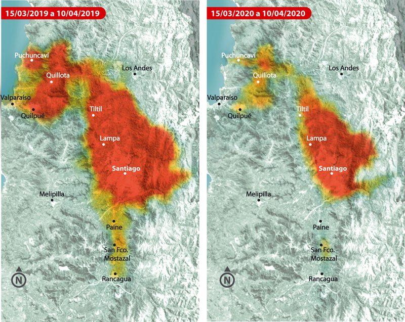 Satélite capta drástica baja en la contaminación del aire en Santiago