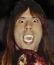 Bruce Dickinson vampire fangs picture (Iron Maiden) #PMRC PunkMetalRap.com