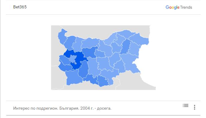 Търсене на bet365 по региони в България