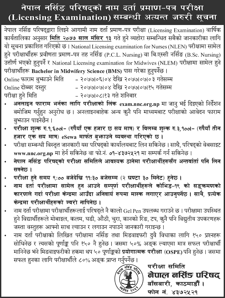 Nepal Nursing Council Licensing Examination