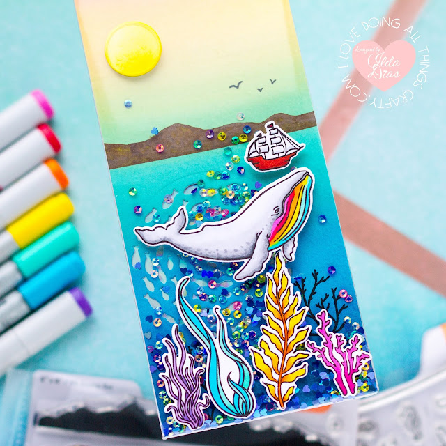 Whaley Great, Frameless Slimline Shaker Card,Tonic Studios,Shoot for the Stars,Card Making, Stamping, Die Cutting, handmade card, ilovedoingallthingscrafty, Stamps, how to, Ocean Scene,encouragement card,