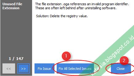 ccleaner memulai perbaikan registry