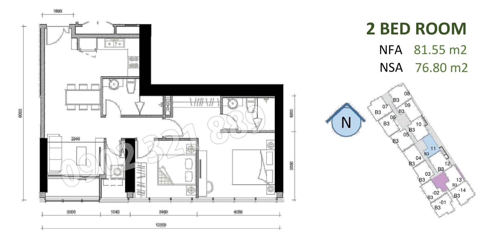 mặt bằng căn hộ sunwah pearl 2 phòng ngủ B3-11