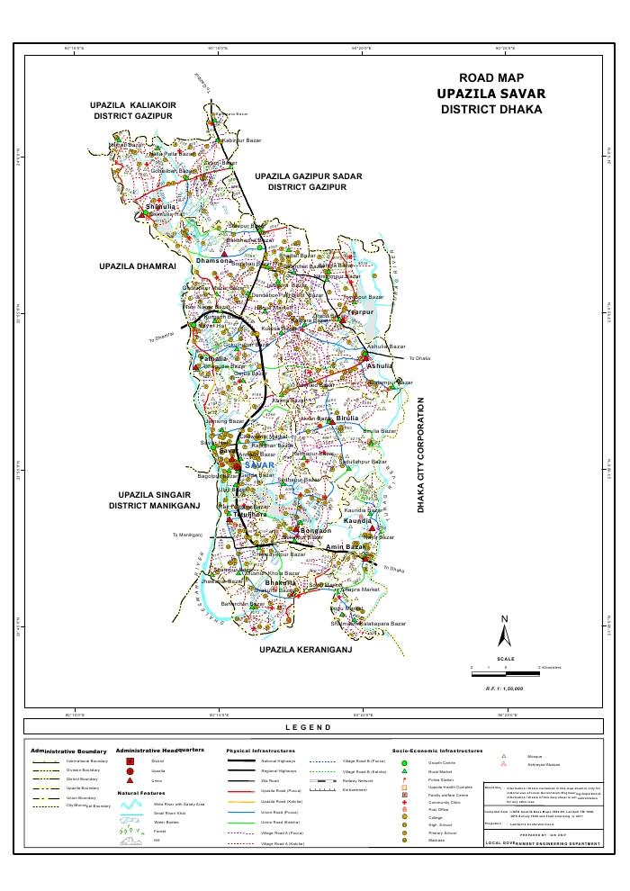 Savar Upazila Road Map Dhaka District Bangladesh
