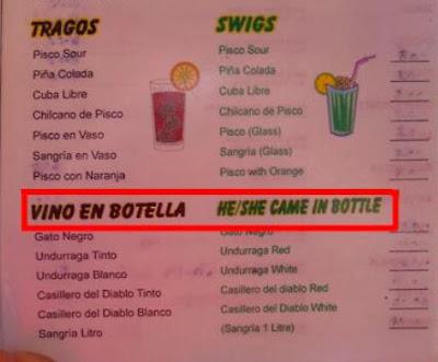Engelsktalande brukar inte beställa vin på den här restaurangen.