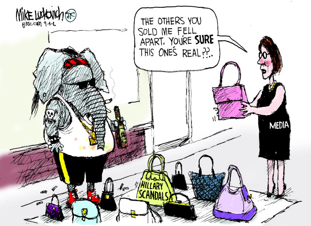 Republican Elephant on street, surrounded by purses labeled