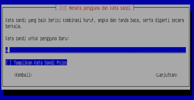 Instalasi Debian - Password untuk user login debian