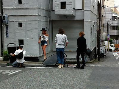 Fashion model on streets of Tokyo.