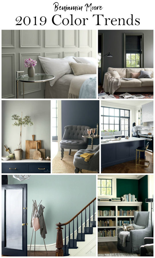 rooms painted with popular Benjamin Moore paint colors for 2019