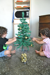 Christmas tree, ornaments, children , decorations