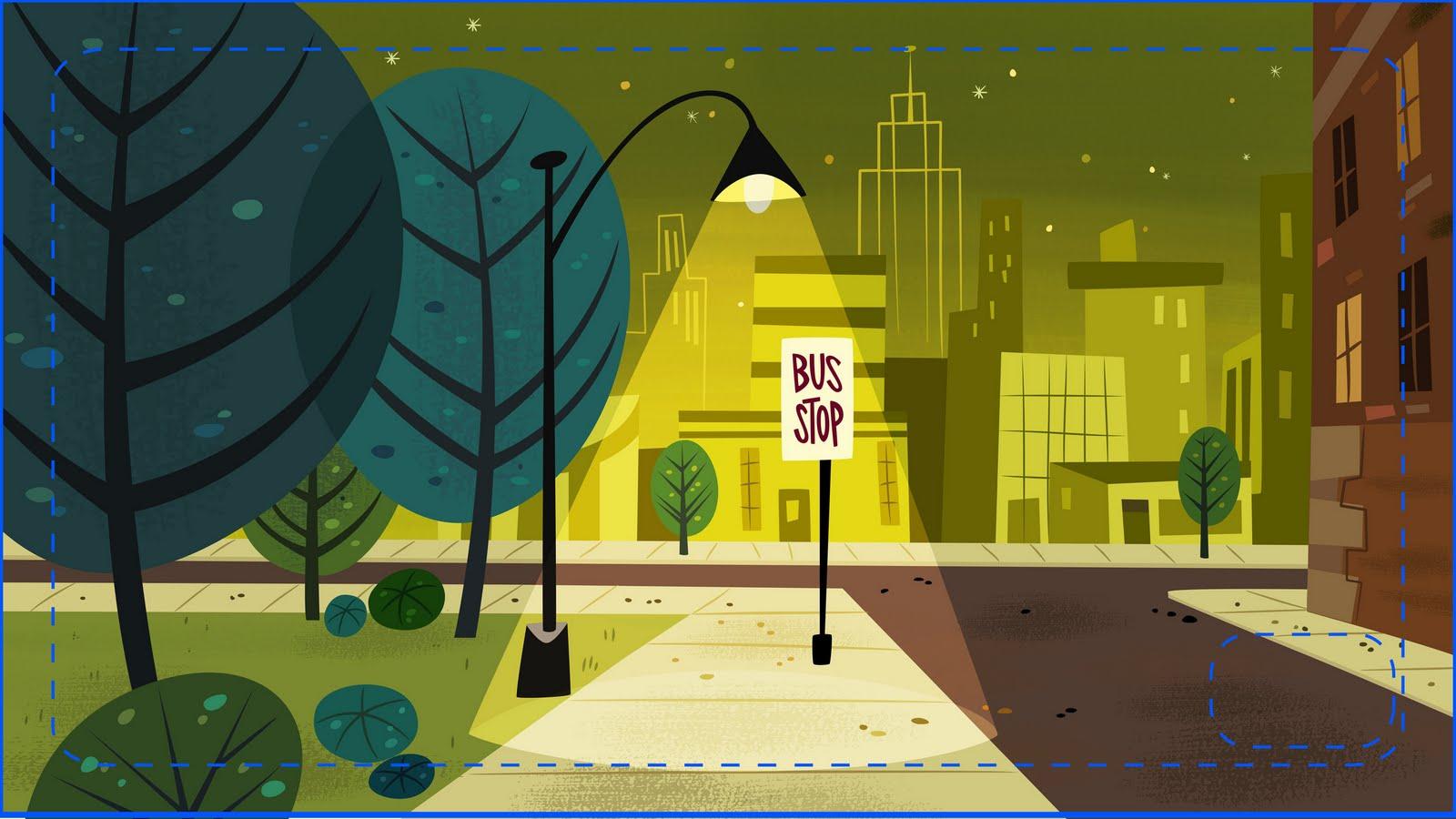 Cartoon Concept Design Powerpuff Girls Painted Backgrounds