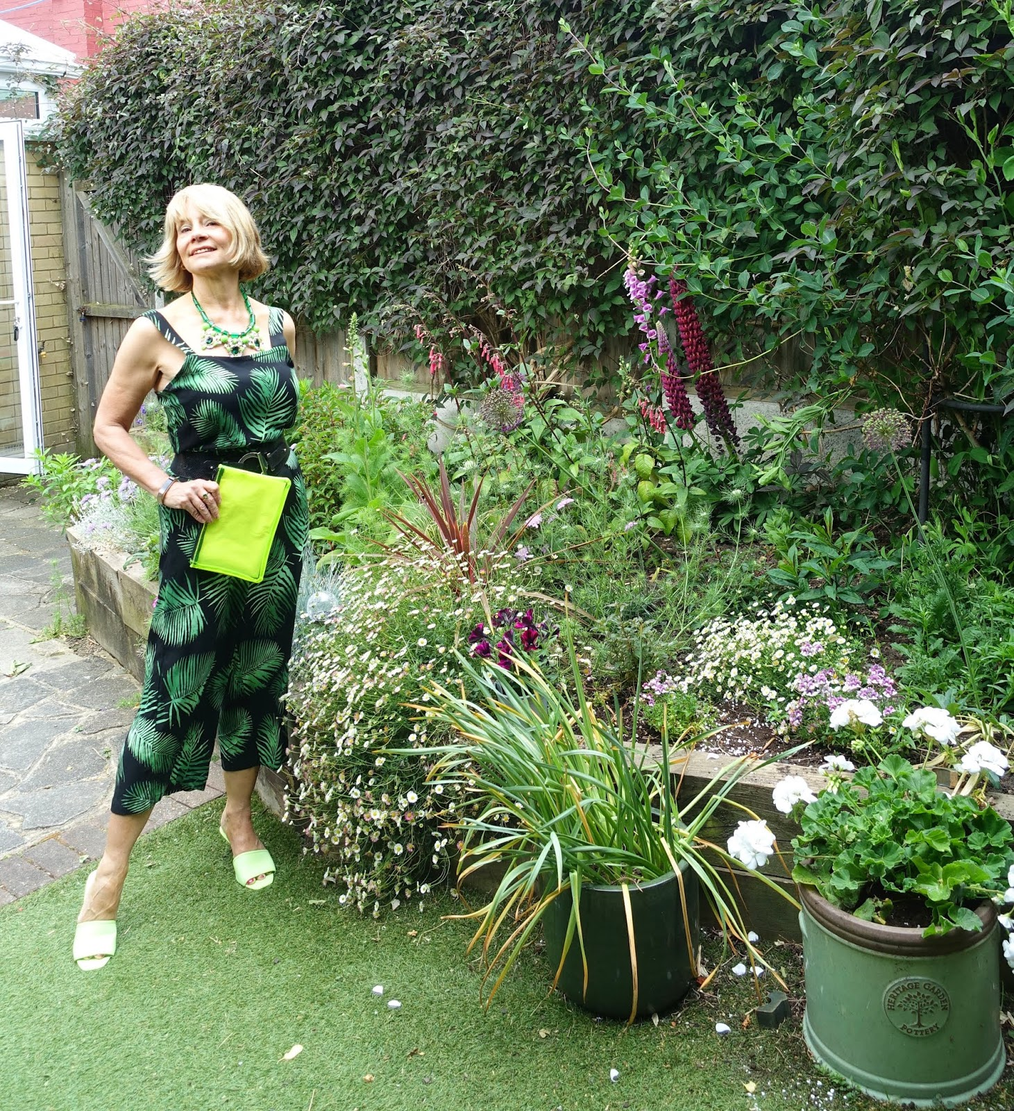 Cropped green and black palm print jumpuit worn by over 50s style blogger Gail Hanlon from Is This Mutton