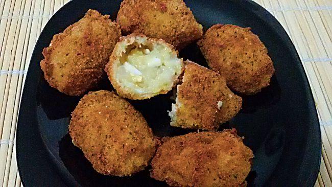 Corte croquetas de caldo de pescado