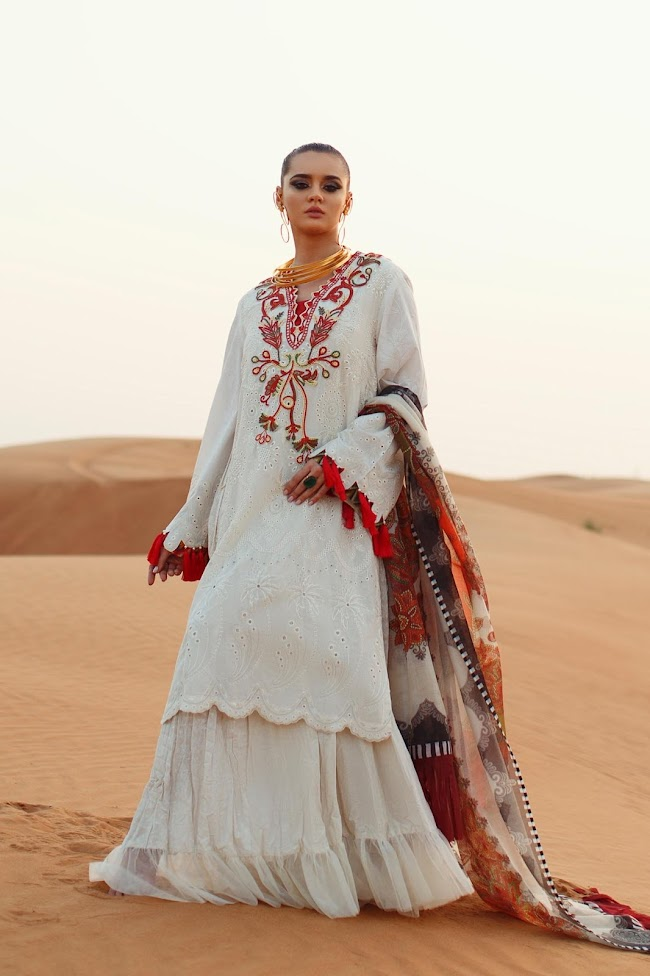 Ethnic White Suit Embroidered Lawn