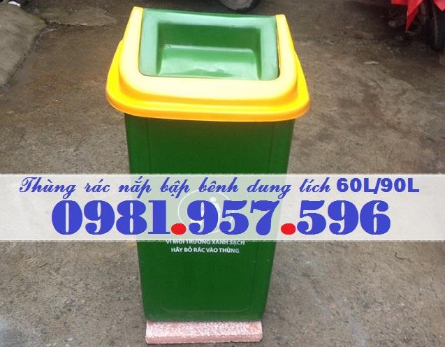 Thùng rác nắp lật dung tích 90L, thùng rác nắp bập bênh 90L, thùng rác nắp lệch 90L
