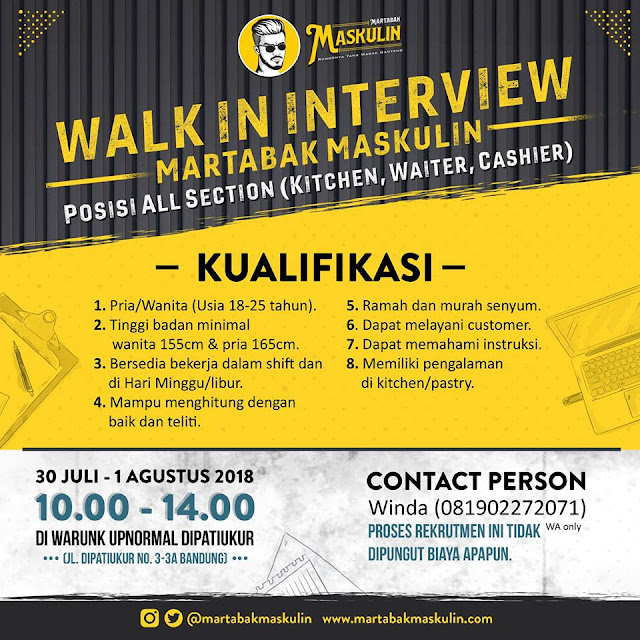 Walk In Interview Martabak Maskulin Bandung