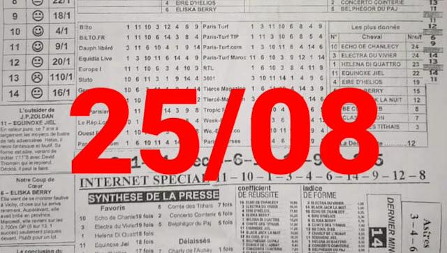 programme quinté+ Pronostic Mercredi 25/08/2021