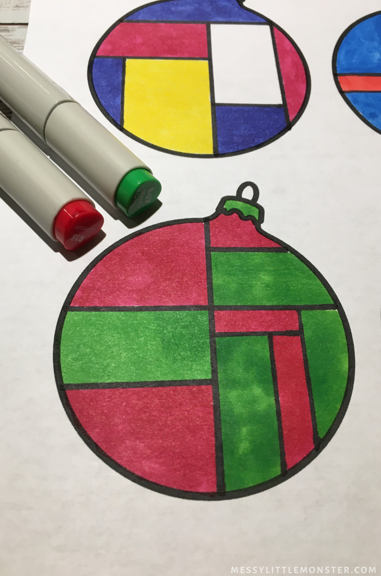 printable Christmas ornament template with Mondrian craft for kids