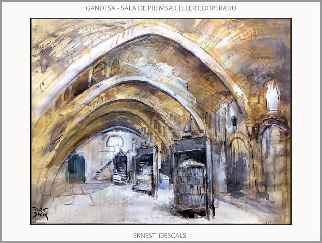 GANDESA-TERRA ALTA-PINTURA-CELLER COOPERATIU-SALA DE PREMSA-PINTURES-PAISATGES-TARRAGONA-CATALUNYA-ARTISTA-PINTOR-ERNEST DESCALS-