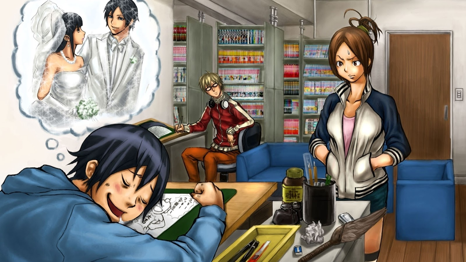 Download wallpapers bakuman, masiro moritaka, akito takagi