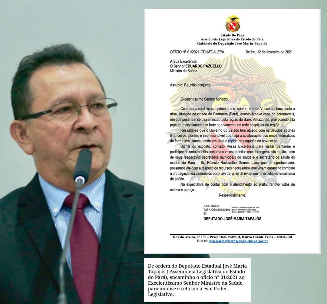Deputado convida ministro Pazuello para vir a Santarém e reforçar combate à covid-19 na região