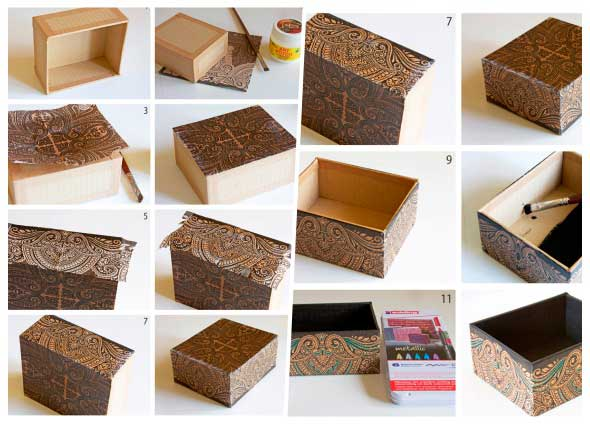 customizar caja de zapatos, manualidades con cajas