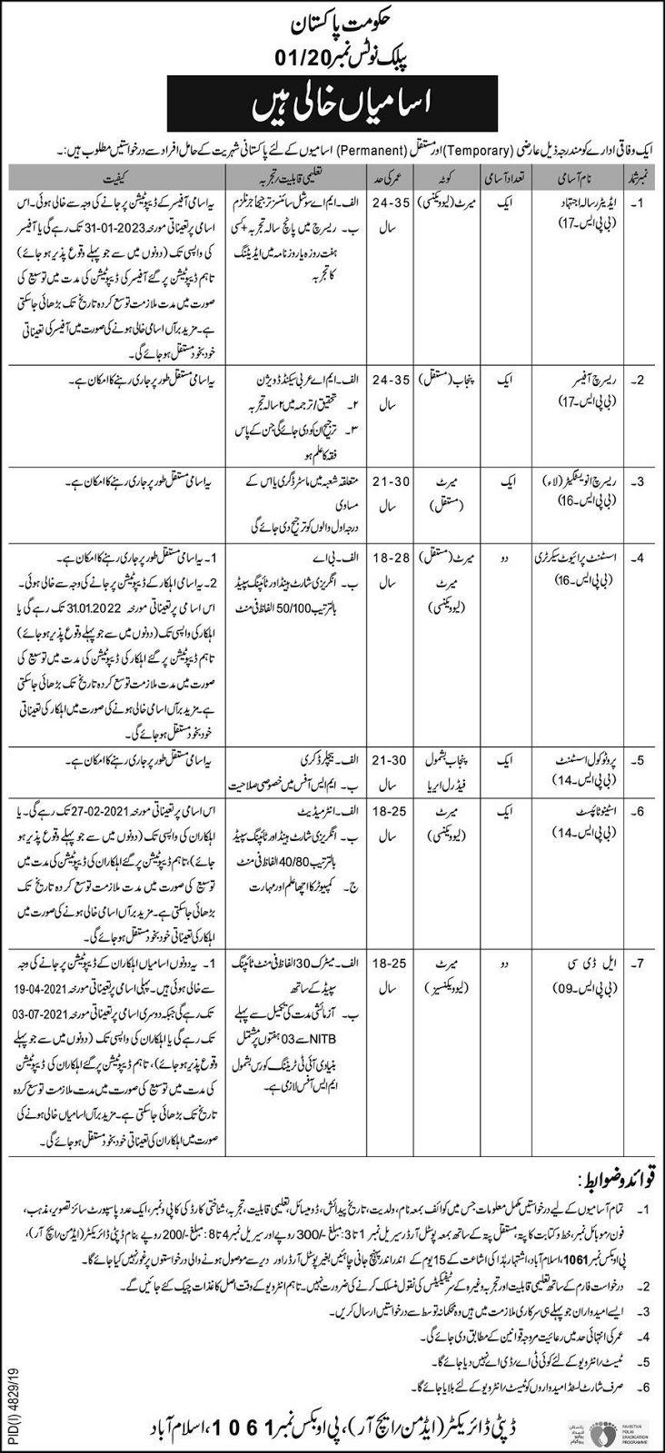 Jobs in Public Sector Organization Po Box No 1061 Islamabad 2020