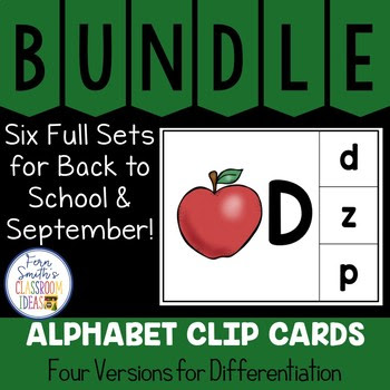 Alphabet Clip Card Center Uppercase & Lowercase Back to School September Bundle