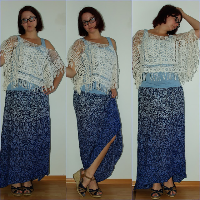 Meet Me At The Pool Blue Maxi Skirt and Crochet Hippie Top  Blauer Maxirock und gehäkeltes Hippie-Top