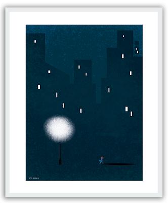 Clod illustration poster seul dans la nuit