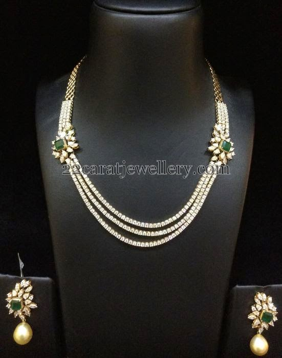 Solitaire Diamond Set With Simple Earrings Jewellery Designs