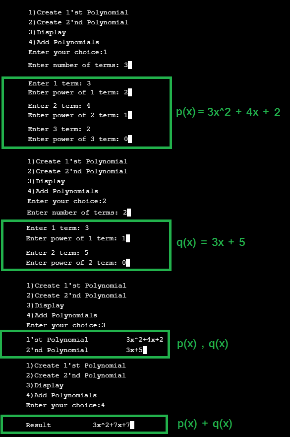 add two polynomials using linked list with output