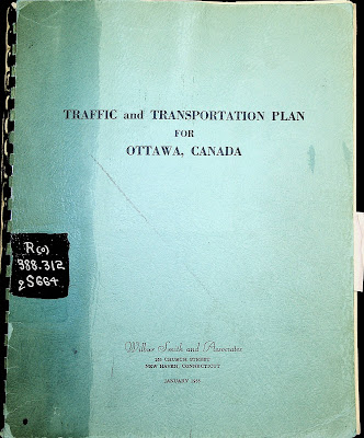 Image of the blue cover of the spiral-bound report in the Ottawa Public Library's Ottawa Room