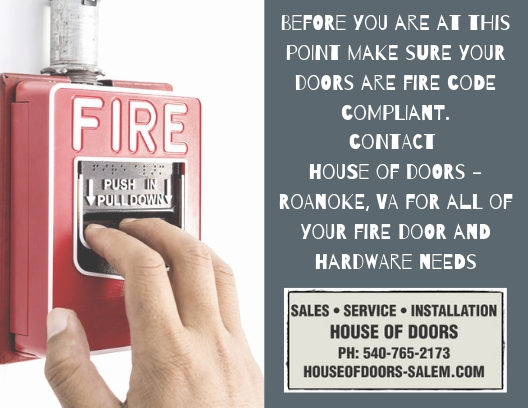 Fire doors and hardware sold and installed by House of Doors - Roanoke, VA