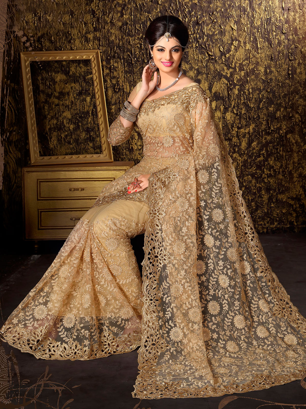 Golden Embroidered Net Saree With Blouse Mirraw Mirraw